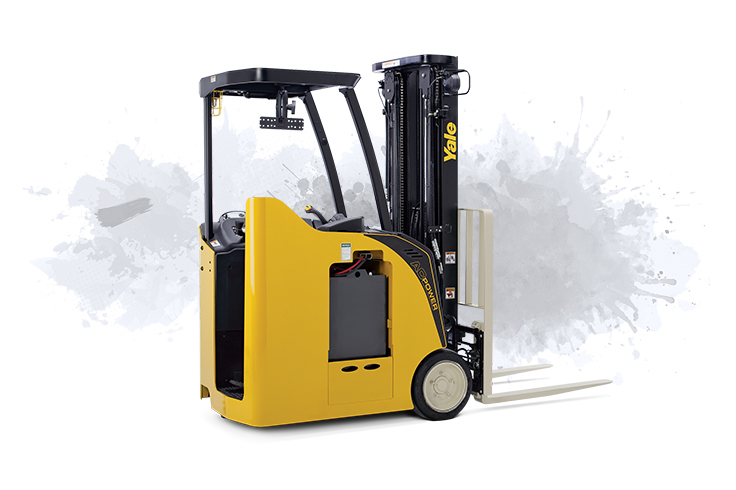 Efficient stand-up lift truck for dock and drive-in rack applications