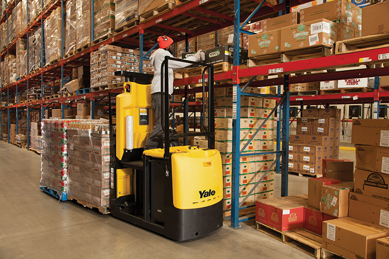 Order picker foot controlled lifting platform allows operators to focus on making picks by Yale